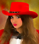 cowgirl with red hat